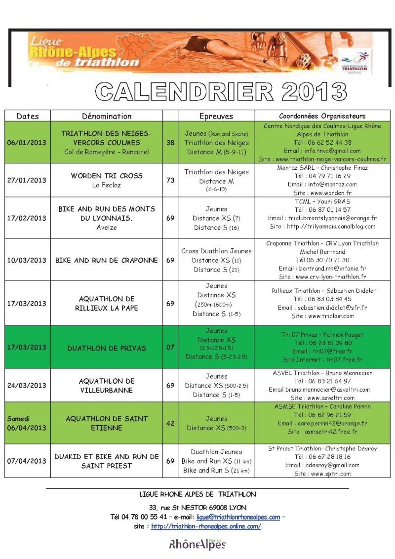 Calendrier 2013 Triathlon Ligue Rhone Alpes 111