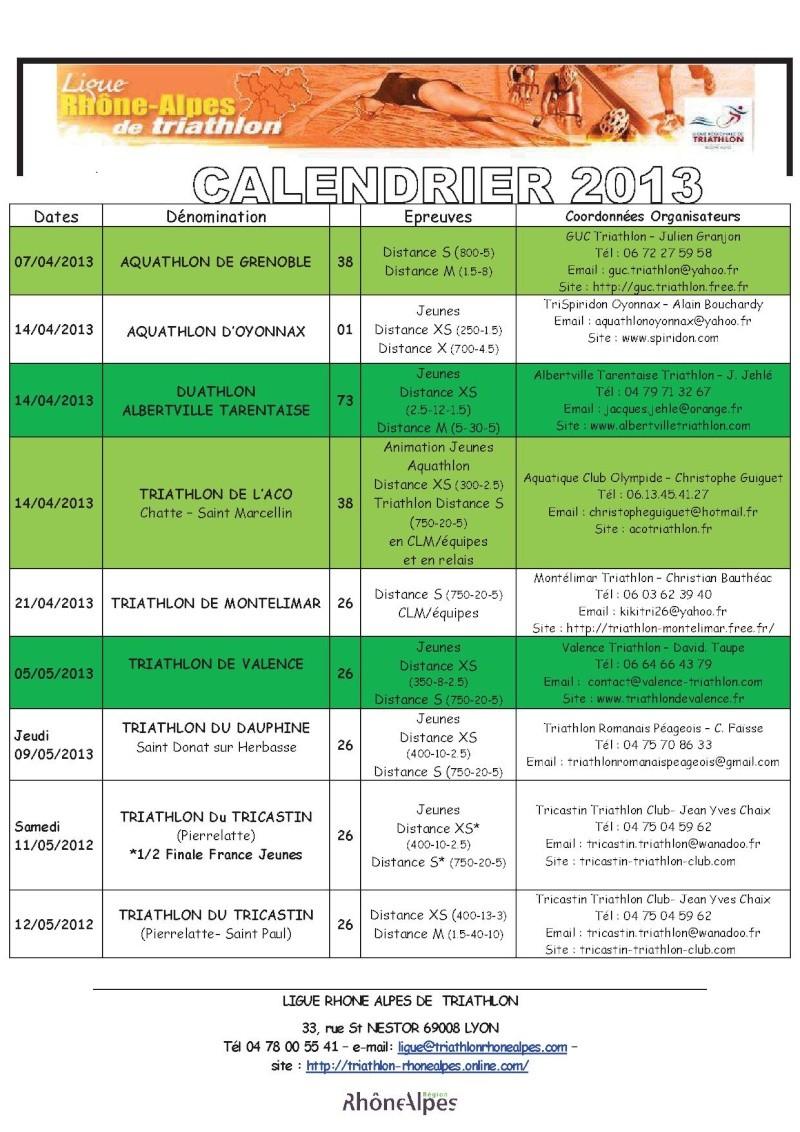 Calendrier 2013 Triathlon Ligue Rhone Alpes 211