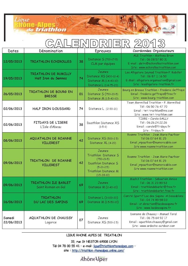 Calendrier 2013 Triathlon Ligue Rhone Alpes 311