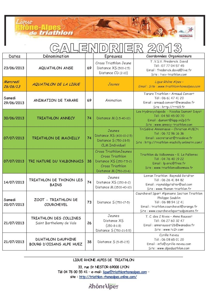 Calendrier 2013 Triathlon Ligue Rhone Alpes 411