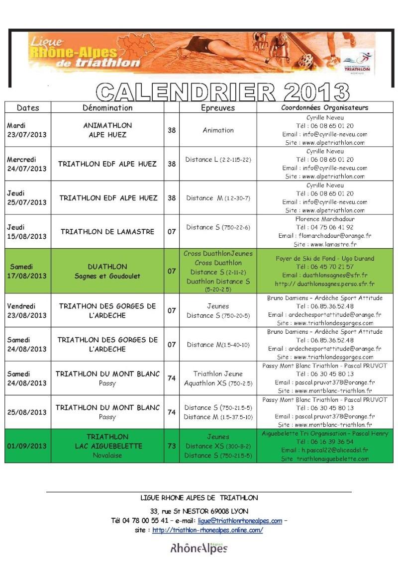 Calendrier 2013 Triathlon Ligue Rhone Alpes 511