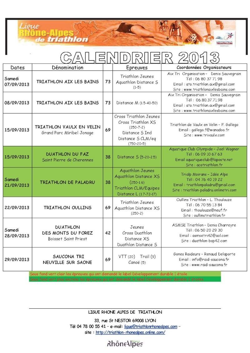 Calendrier 2013 Triathlon Ligue Rhone Alpes 611
