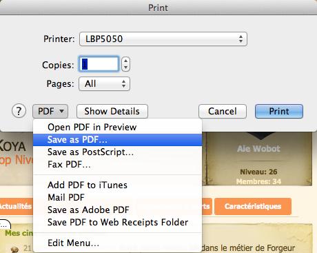 Ripper votre avatar en .pdf depuis le site officiel Captur11