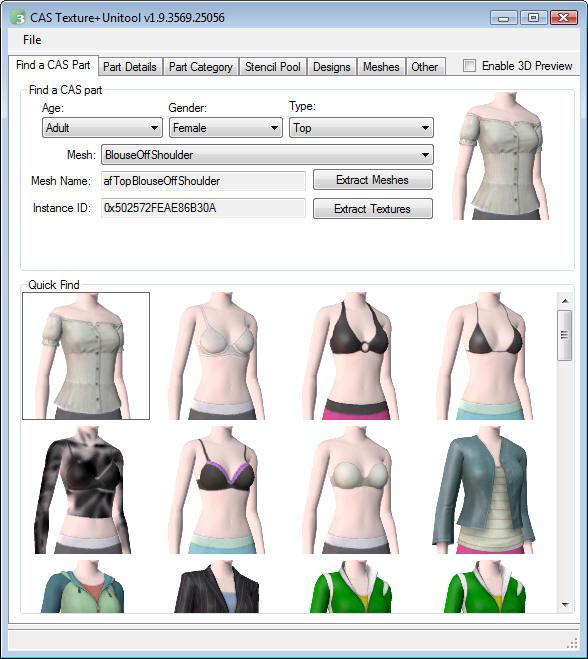 Changer la catégorie d'un vêtement Cast010