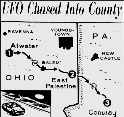Portage County Ohio, Police UFO chase 1966 News110