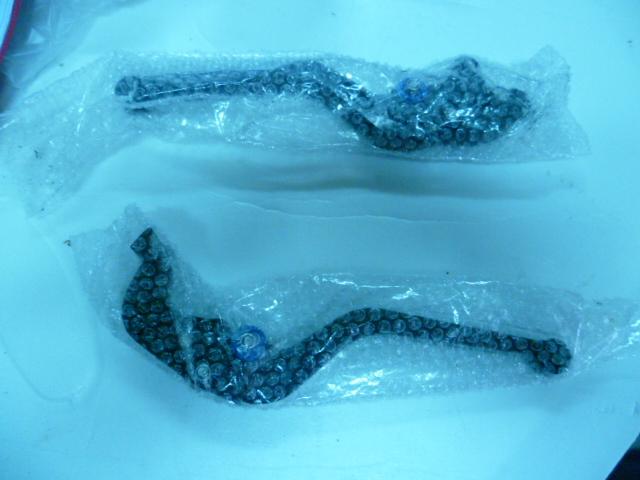 Levier de frein et d'embrayage noirs - molettes bleu P1020937