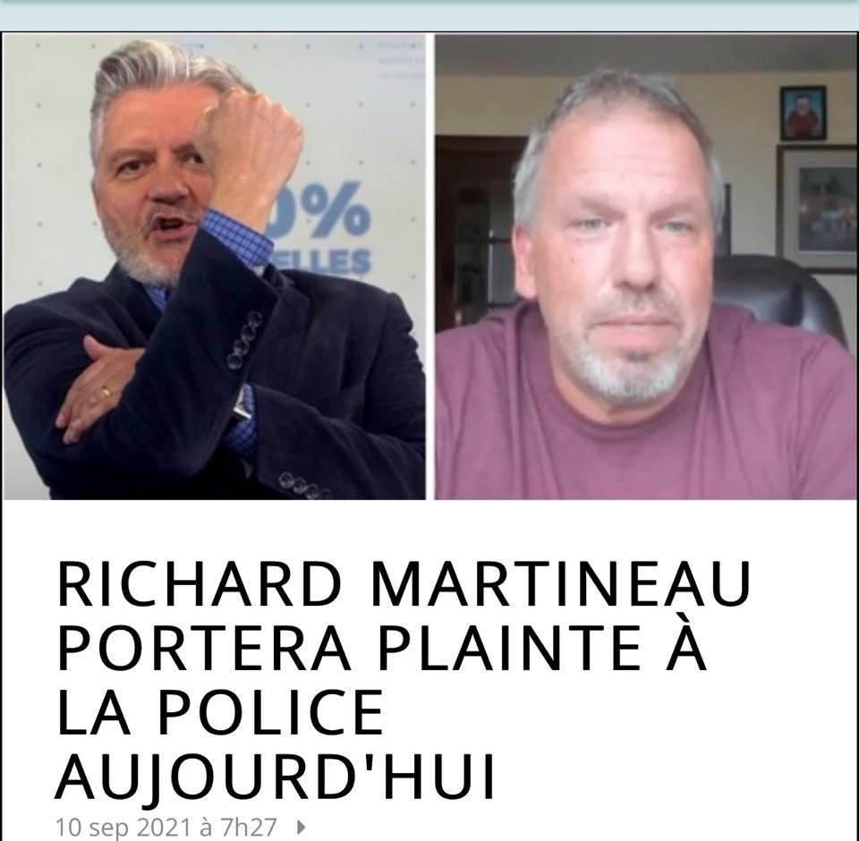 Suite à la vidéo de Dan Pilon dénonçant Richard Martineau, ce dernier portera une plainte à la Polic 24175010