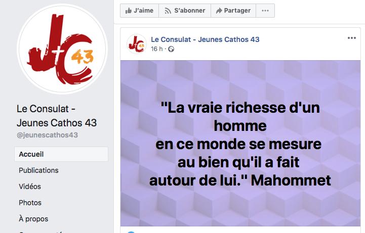 RIDICULE : Les jeunes Catholiques du Puy-en-Velay se réfèrent à Mahomet ! Captu169