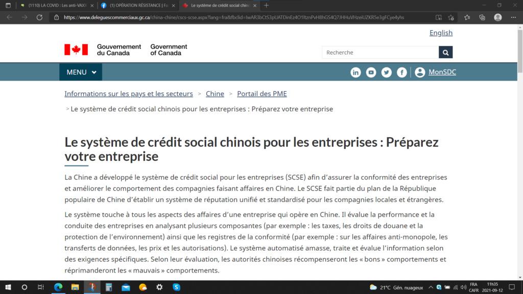 Le Canada donne des informations pour implanter le Système de Crédit Social (chinois) pour les Entre Captu418