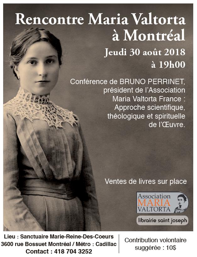 """""""Rencontre Maria Valtorta"""" à Montréal et à Québec en août et en septembre 2018 ! Montrz10"""