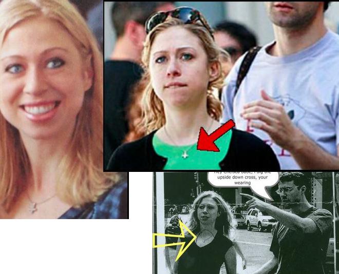 Chelsea Clinton, la fille de Bill et Hilary Clinton, porte une croix inversée ! Ob_7c210