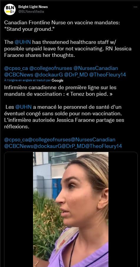 CANADA : 3,000 infirmières et médecins menacent de débrayer à cause des mensonges de la COV Unnam769