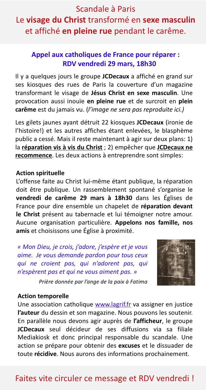 Scandale à Paris : le Visage du Christ ridiculisé - Appel aux Catholiques pour réparer publiquement  Unname15