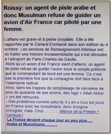 ROISSY, FRANCE : Un agent de piste musulman refuse de guider un avion. Devinez pourquoi ? Unname34