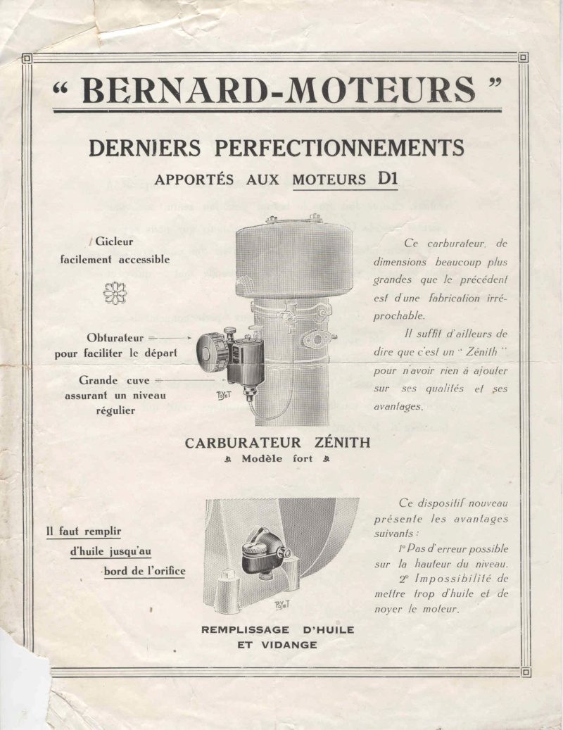 """Bernard -  D1 sur socle  """" BERNARD MOTEURS SURESNES  """" - Perf_d10"""