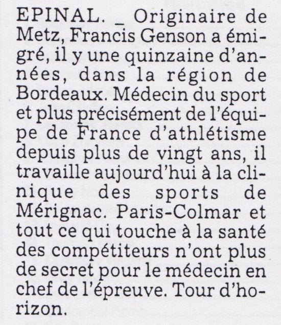 Francis GENSON médecin de l'équipe de France . Presse11