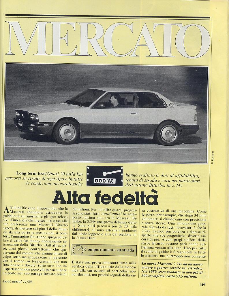 long term test Maserati 2.24v.....autocapital novembre 1989 00711