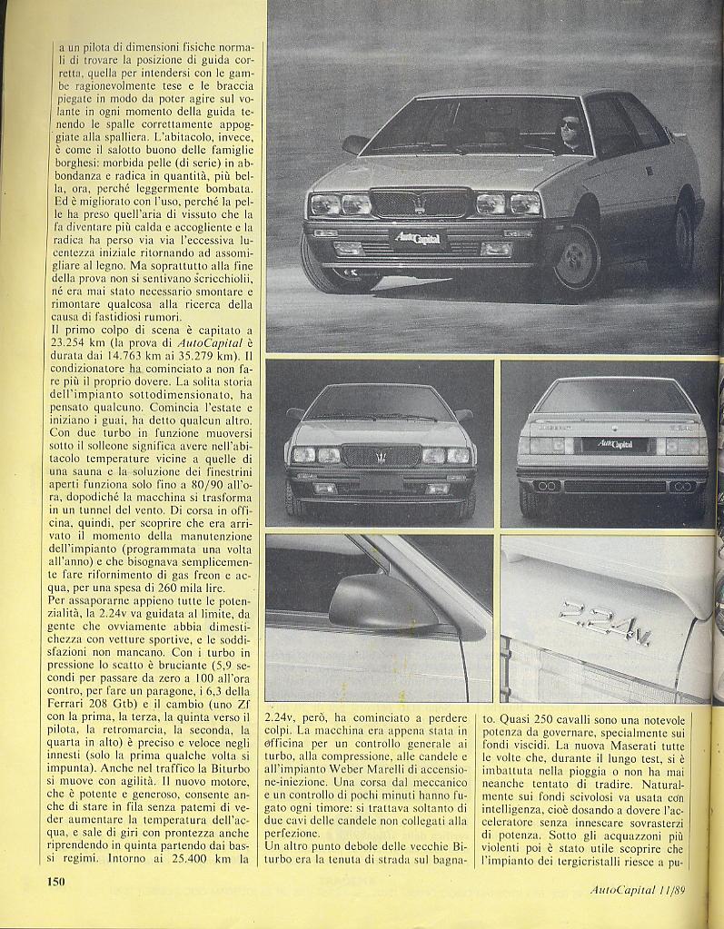 long term test Maserati 2.24v.....autocapital novembre 1989 00811