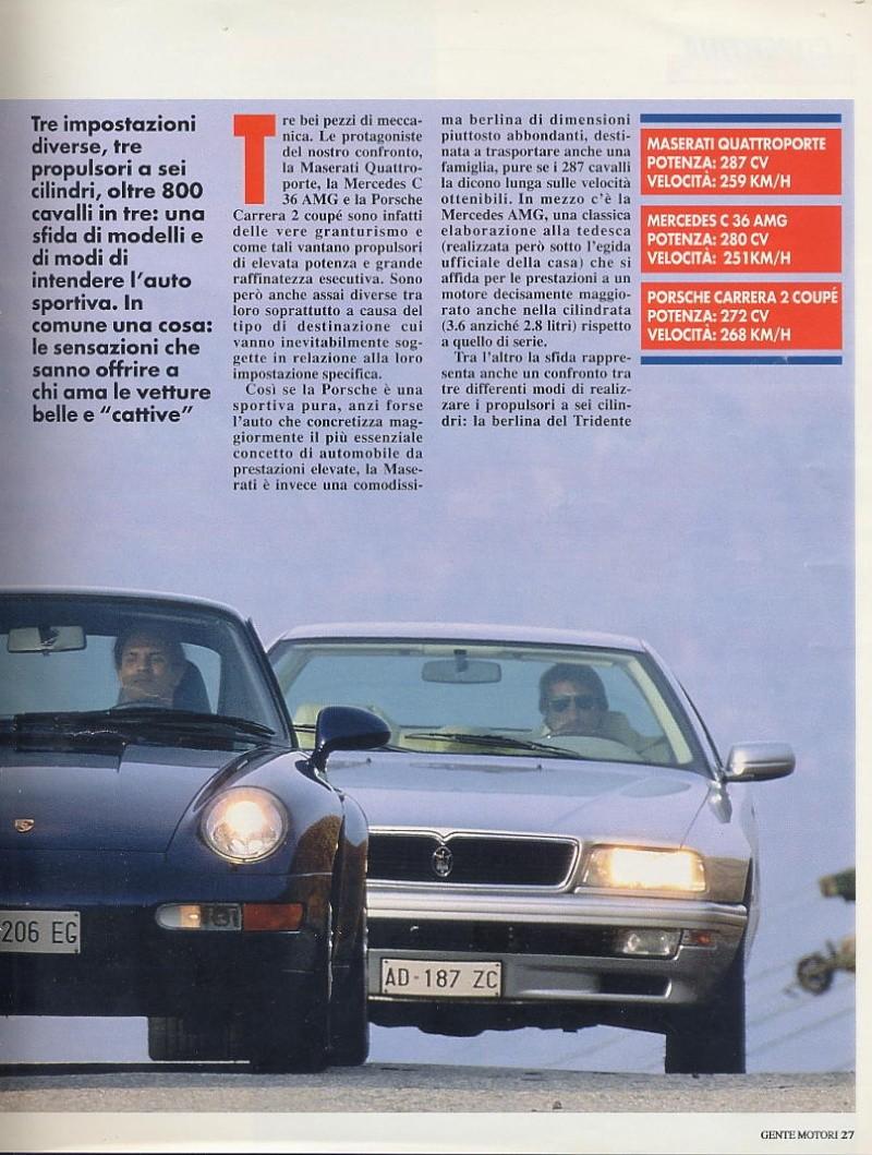 prova e confronto tra quattroporte IV 2.0 vs mercedes c36amg vs porsche carrera 933... gente motori...gennaio 1996 01410