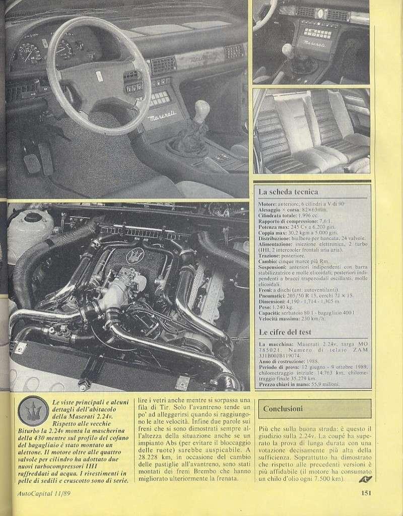 long term test Maserati 2.24v.....autocapital novembre 1989 01612