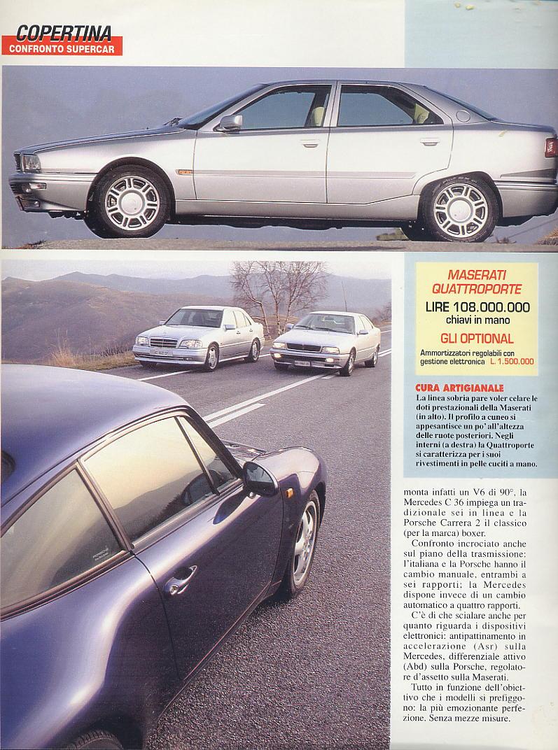 prova e confronto tra quattroporte IV 2.0 vs mercedes c36amg vs porsche carrera 933... gente motori...gennaio 1996 01710