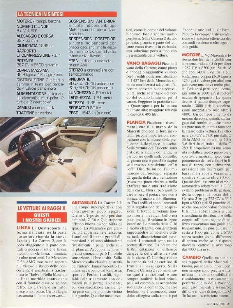 prova e confronto tra quattroporte IV 2.0 vs mercedes c36amg vs porsche carrera 933... gente motori...gennaio 1996 01810