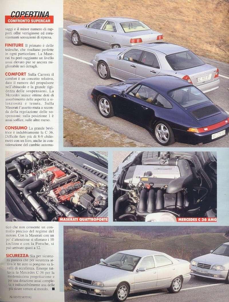 prova e confronto tra quattroporte IV 2.0 vs mercedes c36amg vs porsche carrera 933... gente motori...gennaio 1996 02110