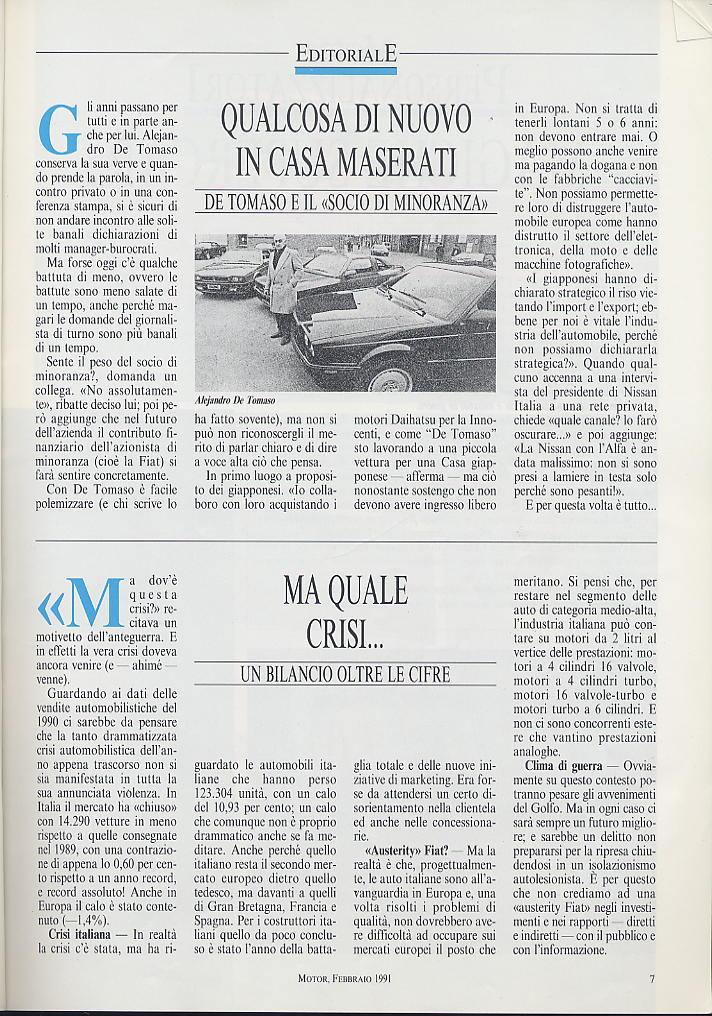 piccola intervista a DeTomaso e presentazioni nuovi modelli ...motor ..febbraio 1991 02810