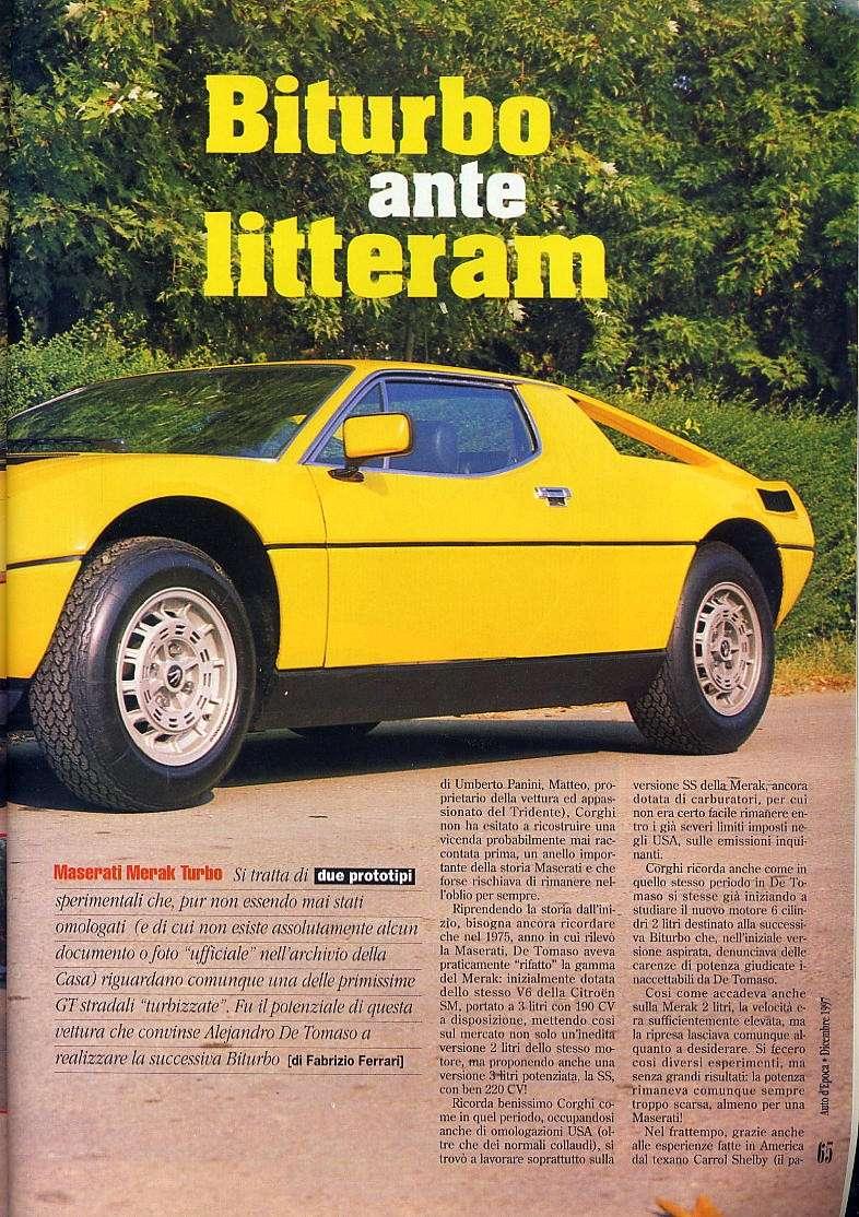 interessante articolo Merak turbo....auto d'epoca  dicembre 1997 03311