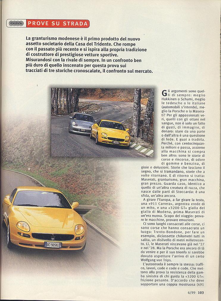 megaprova 3200gt vs 996 carrera ....quattroruote...giugno 1999 03410