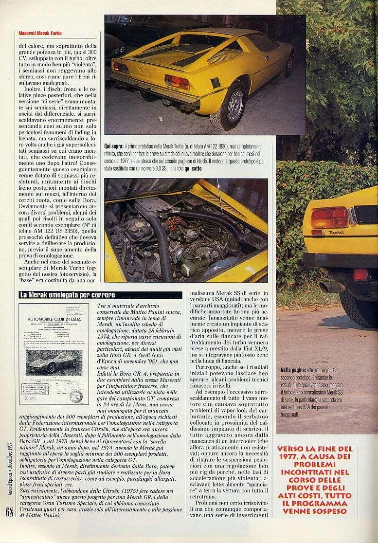 interessante articolo Merak turbo....auto d'epoca  dicembre 1997 03611