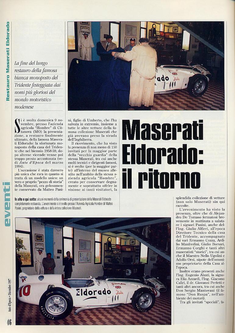presentazione restauro Eldorado.....auto d'epoca  dicembre 1997... 03810