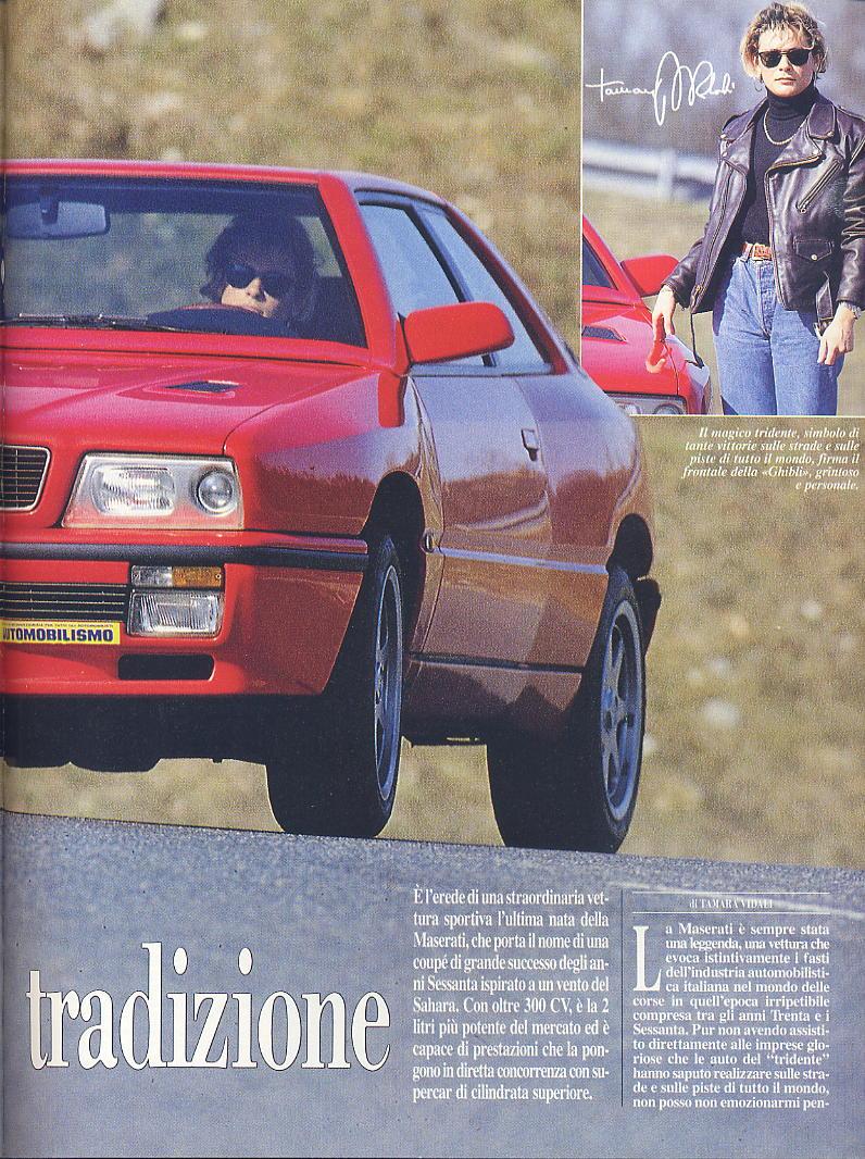 prova Ghibli ...automobilismo ...aprile 1993...tester..Tamara Vidali 06810