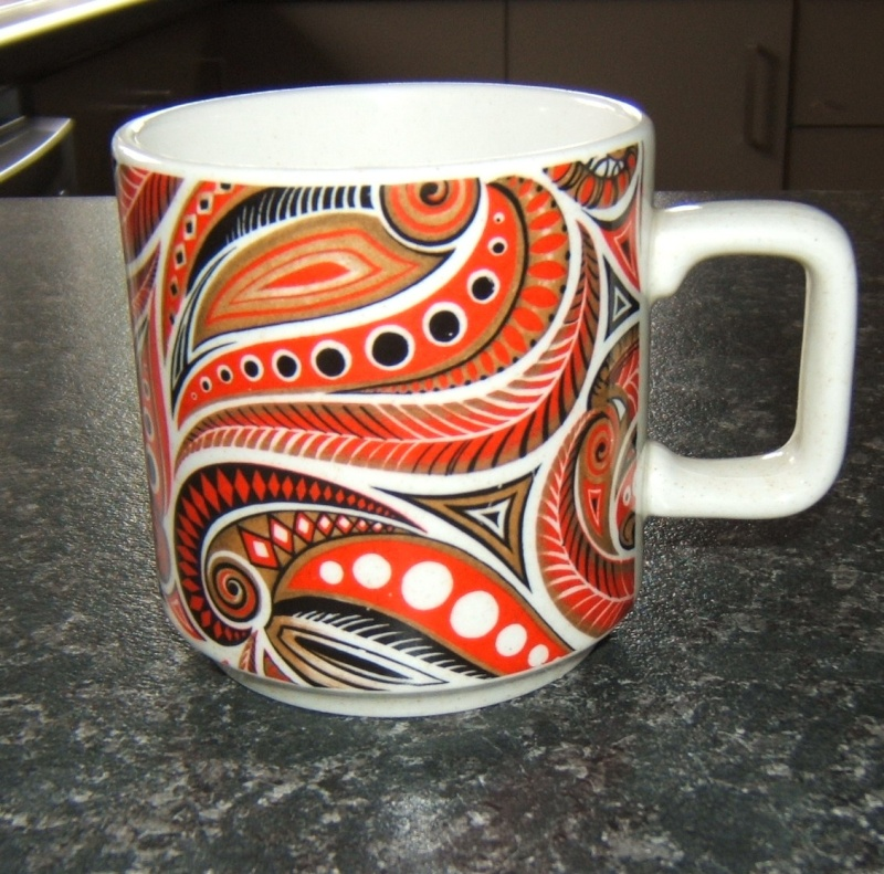 fabulous reddish orange paisley mug no name ~ Paisle10