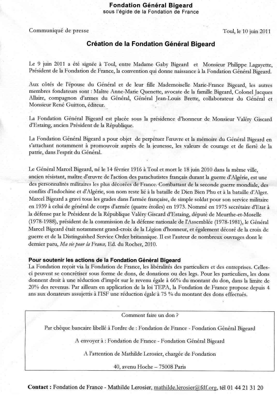 """Une fondation """"général Marcel Bigeard"""" Commun10"""