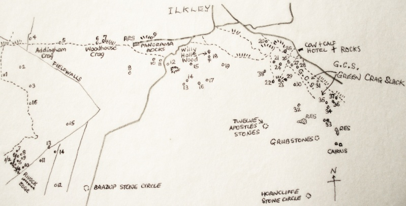 Map Of The Prehistoric Sites Of Ilkley Moor Prehis10