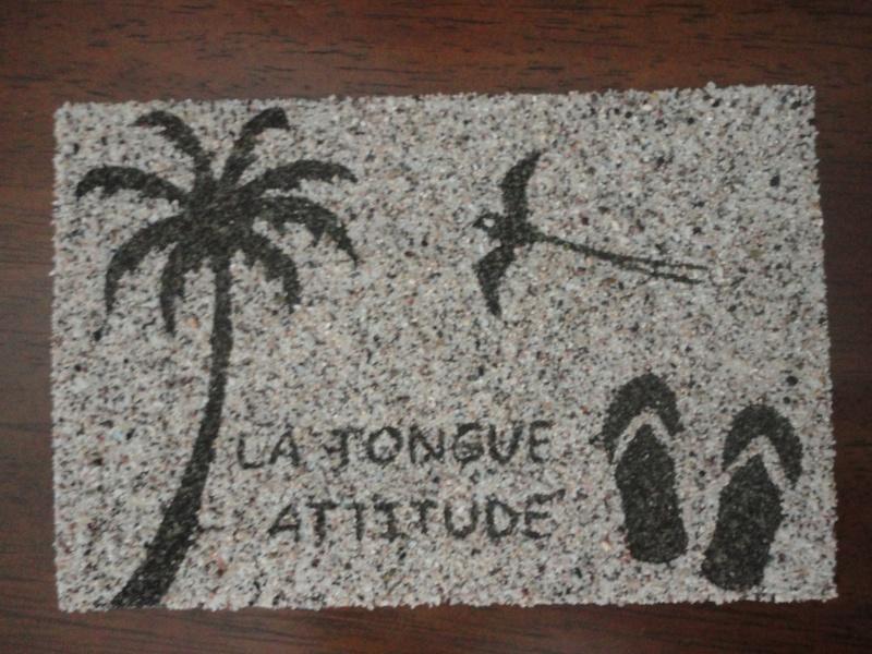TABLEAUX cartes postales avec du sable de la Réunion Dsc04010