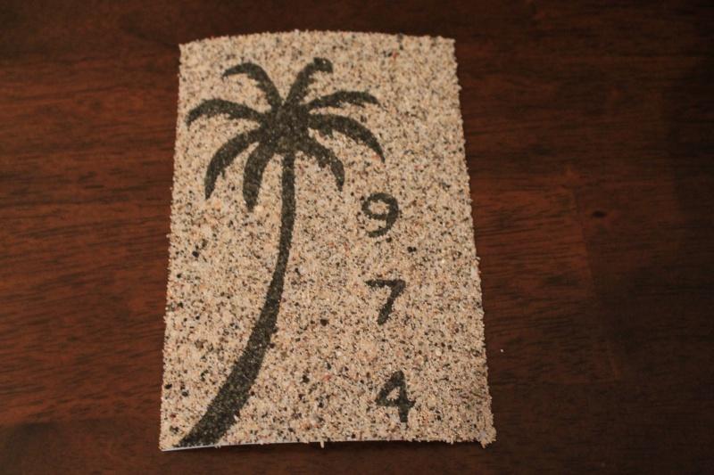 TABLEAUX cartes postales avec du sable de la Réunion Img_0511