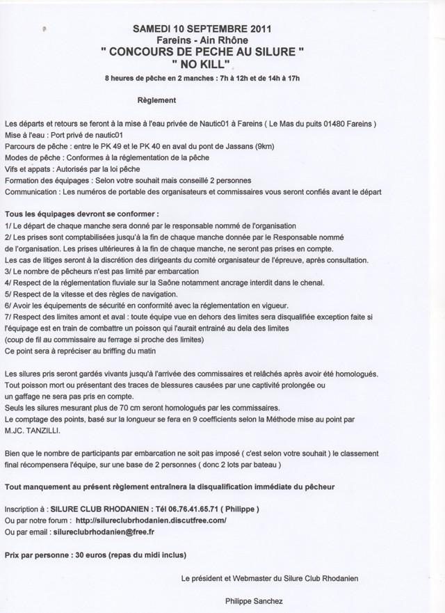 Concours Silure sur la Saône dans l'Ain Reglem10