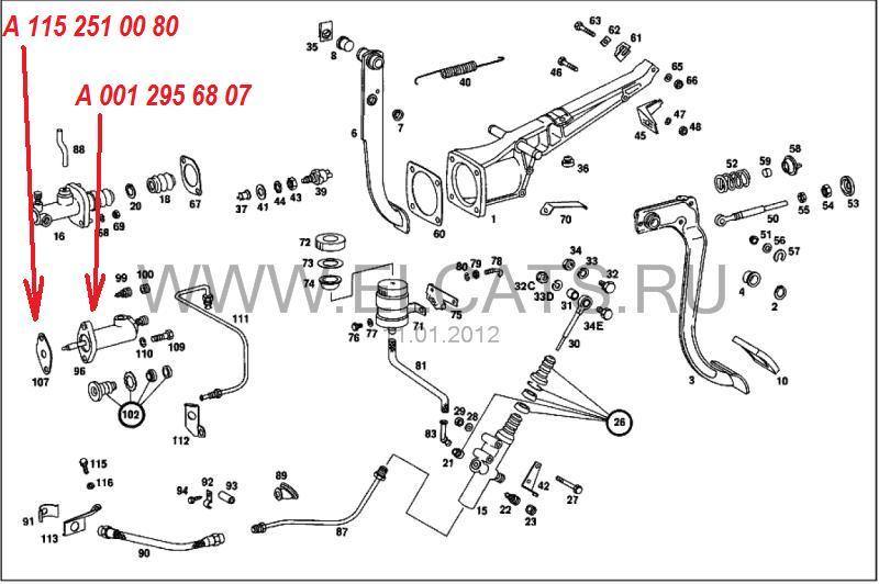 Замена рабочего цилиндра сцепления W114, W115.... Nndudd14