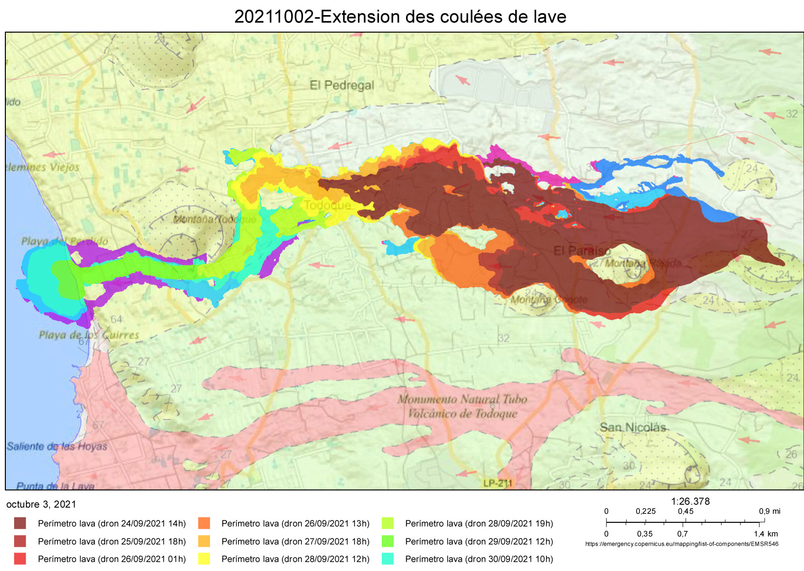 Eruption du volcan Cumbre Vieja - Ile de Palma - Canaries 20211010