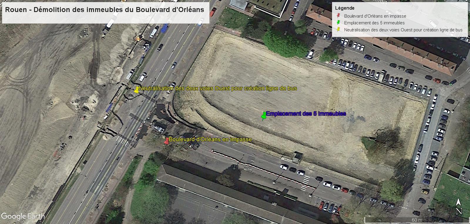 [Bientôt visible sur Google Earth] - Rouen - Démolitions Boulevard d'Orléans et Ligne de tramway T4 Bdo11