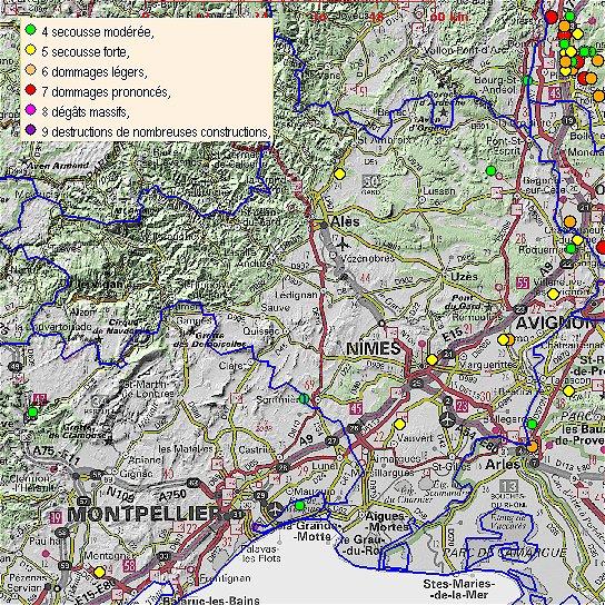 2 Terremotos, poco profundo, tenían miedo en el Gard y Ardèche, Francia France10