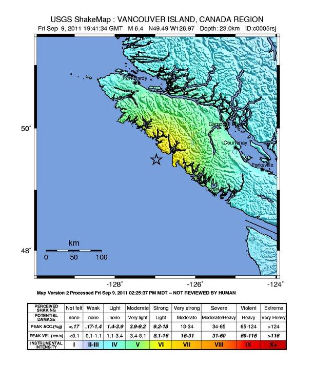 Terremoto muy fuerte a lo largo de la costa de la Isla de Vancouver – profundidad 23 Magnitud kilometros 6.4 Intens11