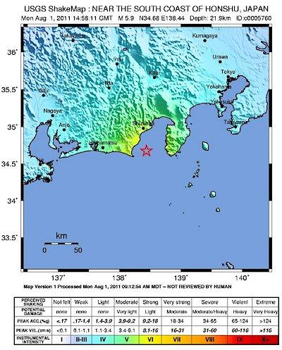 Terremoto superficial muy fuerte con epicentro en el centro de la Bahía de Suruga, Japón Japan010