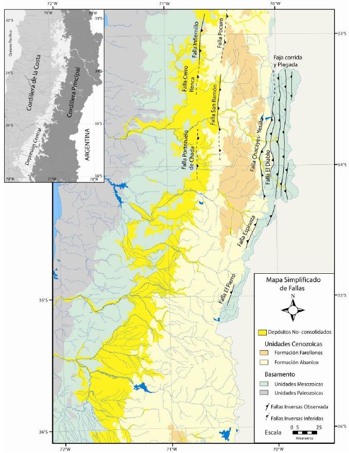 Fallas Geológicas y Volcanes en la Cuenca de Santiago Mapach10