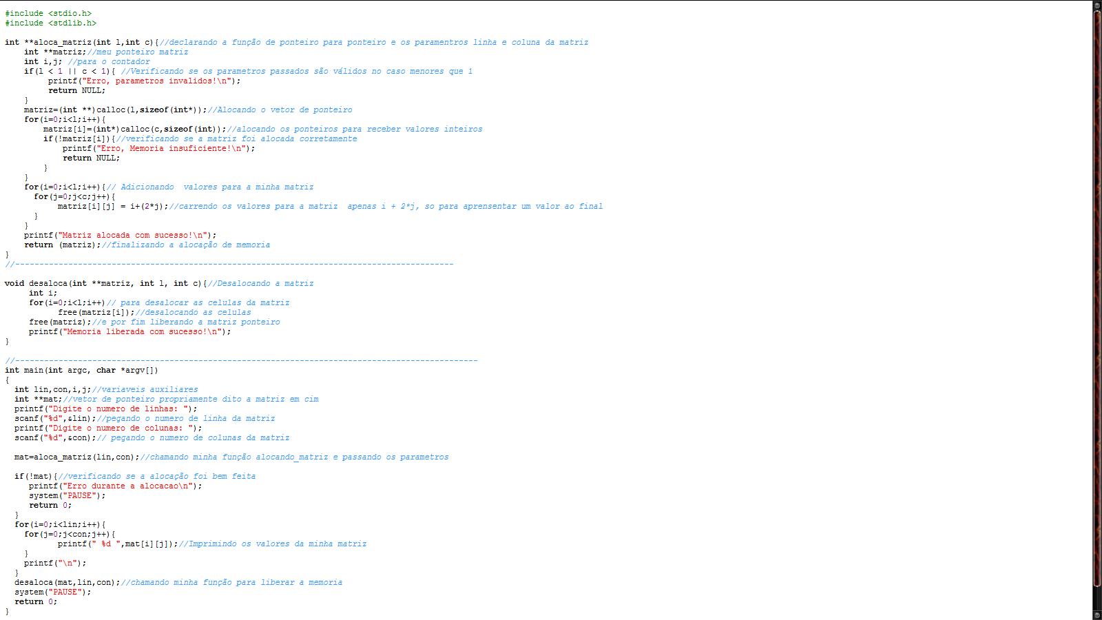 Alocação dinâmica de Memória de Matriz. Alocam11
