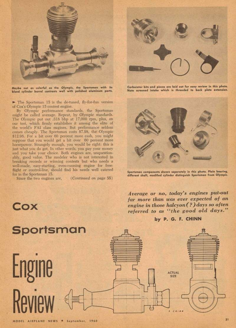 Cox Engine Tests/reviews ONLY Cox_sp10