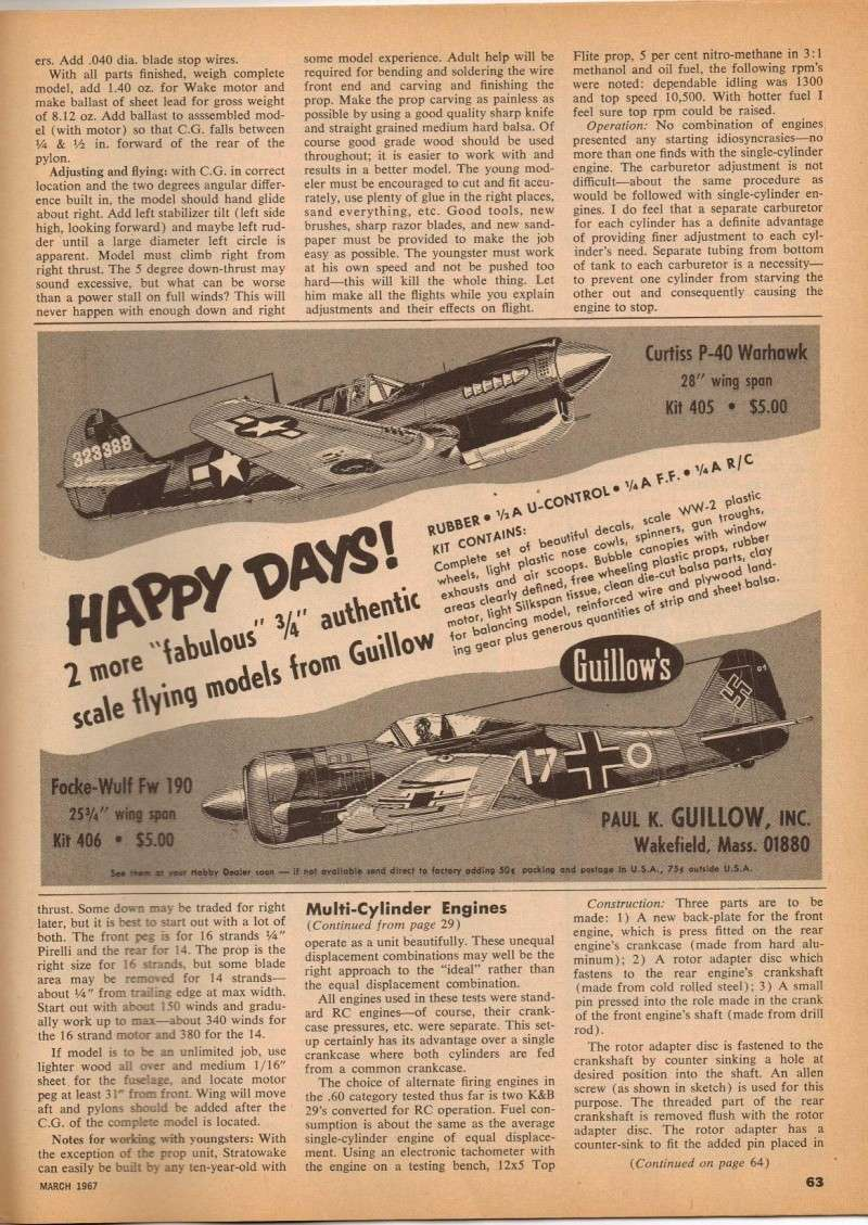 Multi-Cylinder Engine Article American Modeler 3/67 M_e_ad12