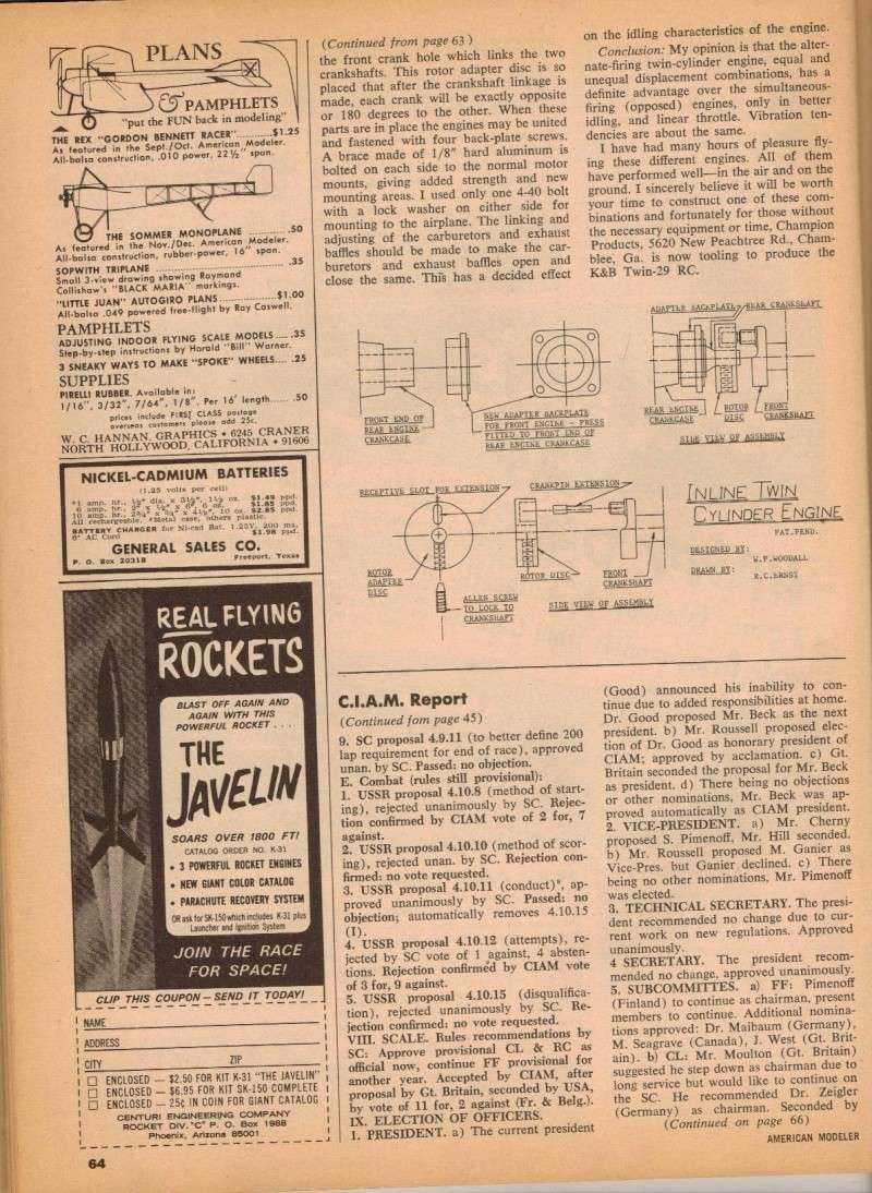 Multi-Cylinder Engine Article American Modeler 3/67 M_e_ad13